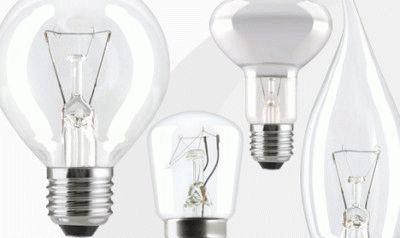 Варианты форм ламп накала
