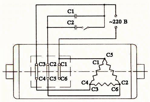 Как подключить трехфазный двигатель в однофазную сеть 54