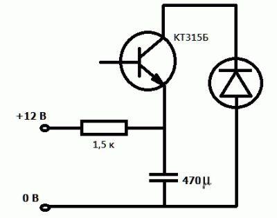 Схема для мигающего светодиода