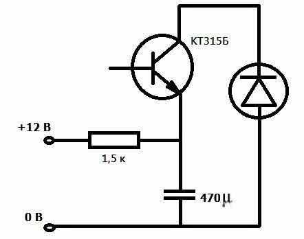 схема мигающего светодиода от 220 в