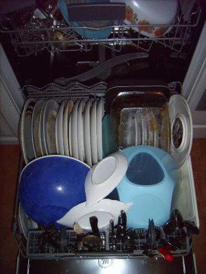 Подготовка посуды к мойке в посудомоечной машине