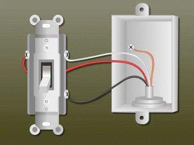 Схематичное подключение выключателя