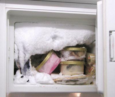 Замёрзший морозильник