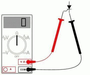 Применение мультиметра к тиристору