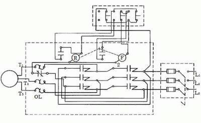 Схема магнитного пускателя с реверсивной возможностью