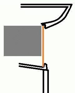Выступ на дне и потолке рабочей камеры