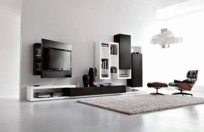 Черно-белая стенка под телевизор